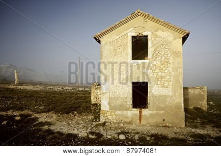 abandoned house in the countryside between fog, Zaragoza Province, Aragon, Spain.