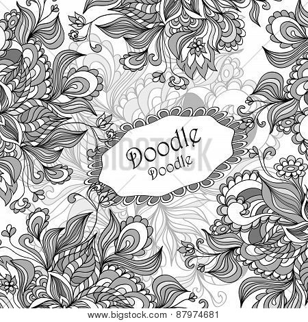 Doodle floral frame in grey