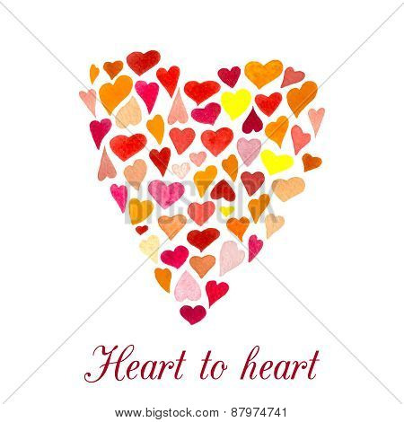 Vector heart made of little watercolor hearts. Mood emblem. Valentine Day card.