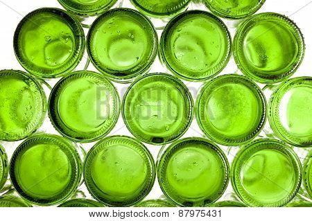 Bottoms of empty glass bottles . Still-life