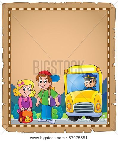 Parchment with school bus 4 - eps10 vector illustration.