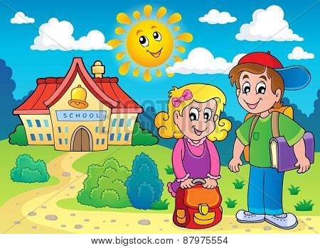 Two children near school - eps10 vector illustration.
