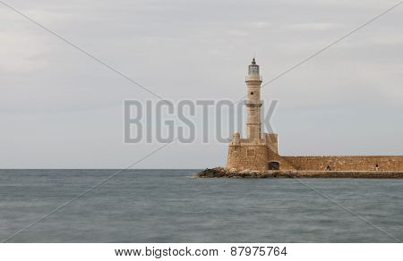 Lighthouse Of  Chania Town In  Crete, Greece