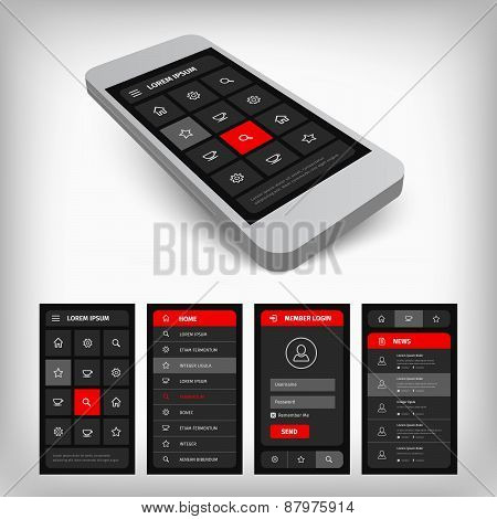 3d visualization of black and red ui