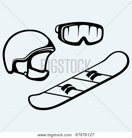 Set equipment for snowboarding