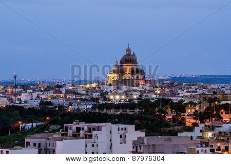 View of Victoria at sunset, Gozo, Malta