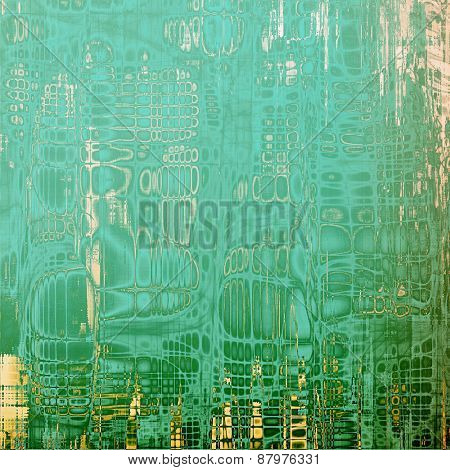Computer designed highly detailed vintage texture or background. With different color patterns: blue; yellow (beige); cyan; green