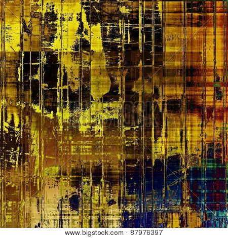 Colorful designed grunge background. With different color patterns: purple (violet); blue; yellow (beige); brown
