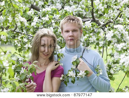 Happy man and the woman in blossoming apple-trees