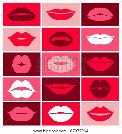 Lips set background of collage.