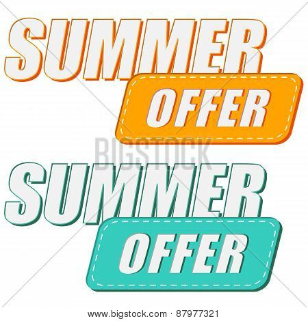 Summer Offer, Two Colors Labels