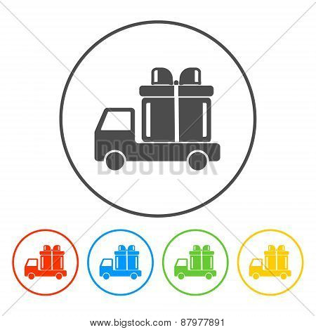 Truck With A Gift Vector Icon