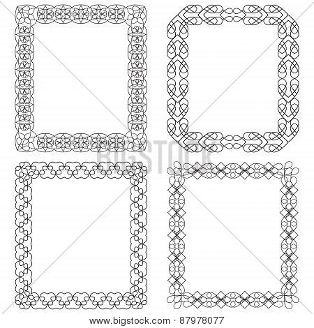 4 Rectangular Frame With Geometric Elements