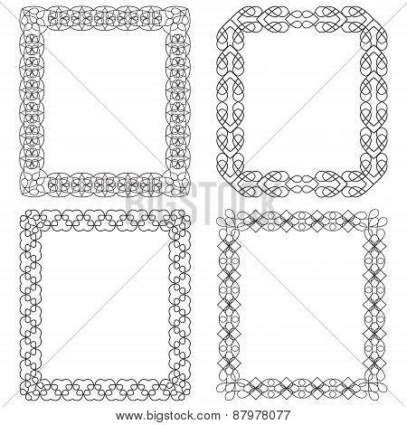 4 Rectangular Frame With Geometric Elements