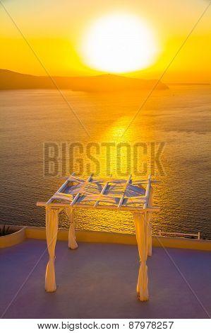Wedding Venue During Sunset Overlooking Caldera, Imerovigli, Santorini Island, Greece