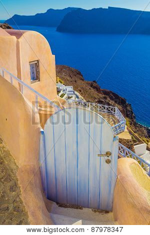 Beautiful Gate In Oia Village, Caldera View, Santorini Island, Greece