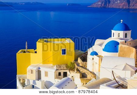 Santorini Views On The Caldera From Beautiful Village Of Oia, Cyclades, Greece