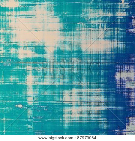Abstract grunge background with retro design elements and different color patterns: blue; cyan; gray