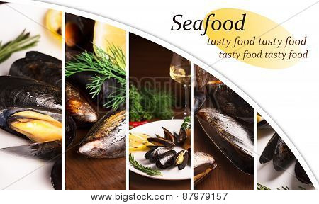 Collage From Photos Of Seafood