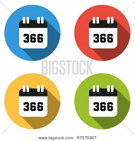 Collection Of 4 Isolated Flat Buttons (icons) For Number 366