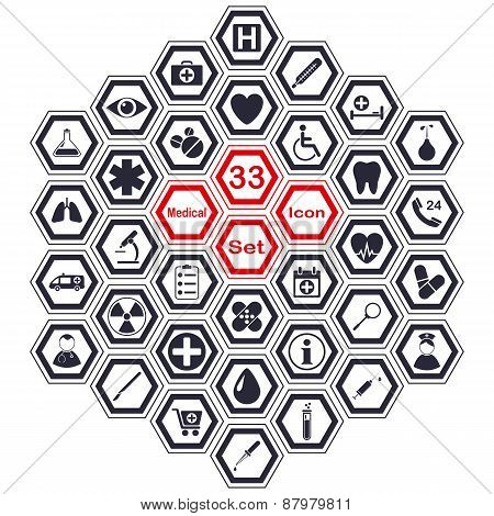 Set of polygon medical icons