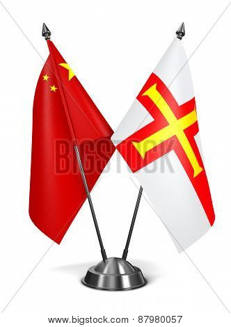 China and Guernsey - Miniature Flags.