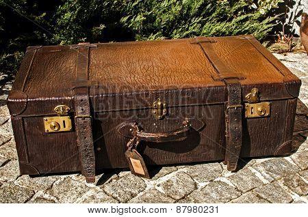Old retro leather suitcase