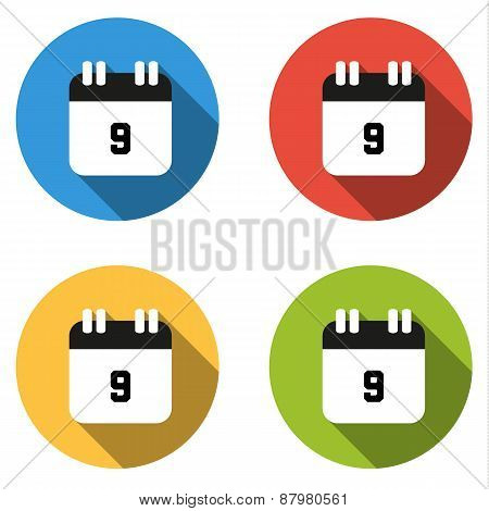 Collection Of 4 Isolated Flat Buttons (icons) For Number 9