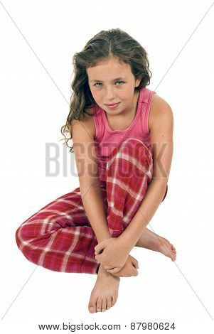 Little Girl Sitting Down Posing