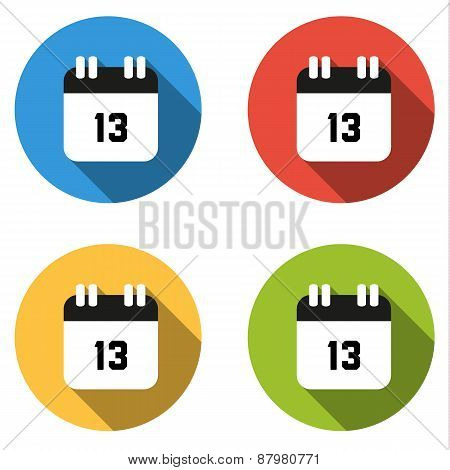 Collection Of 4 Isolated Flat Buttons (icons) For Number 13