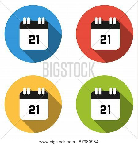 Collection Of 4 Isolated Flat Buttons (icons) For Number 21