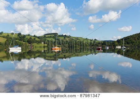 The Lake District popular beautiful UK holiday destination Ullswater Cumbria North England in summer