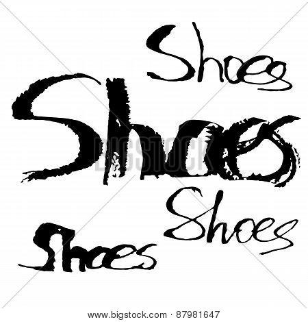 Watercolor lettering. Shoes.