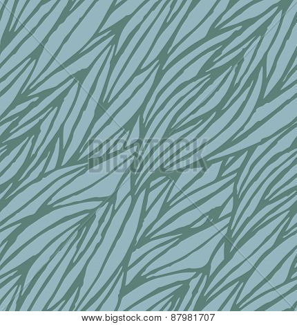Abstract blue hand-drawn waves seamless pattern background