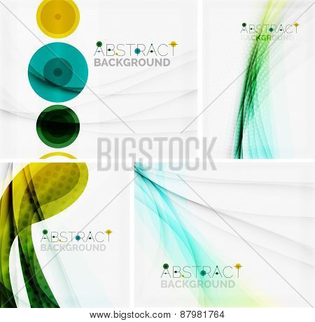 Set of abstract geometric backgrounds. Waves, triangles, lines. Vector universal templates