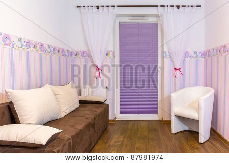 Bright baby room with pastel colors wallpaper
