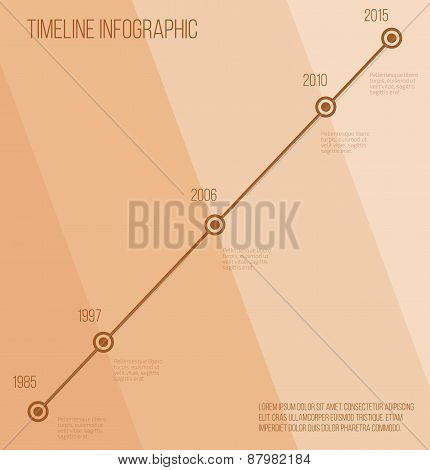 Flat beige diagonal timeline infographic
