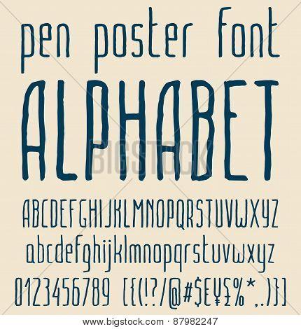 Sans-serif hand-drawn elegant pen poster minimal font, alphabet letters design