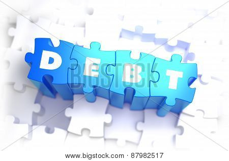 Debt - White Word on Blue Puzzles.