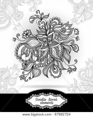 Doodle floral elements in grey