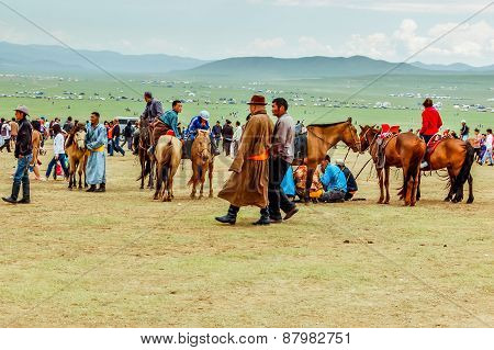 Spectators With Horses, Nadaam Horse Race, Mongolia