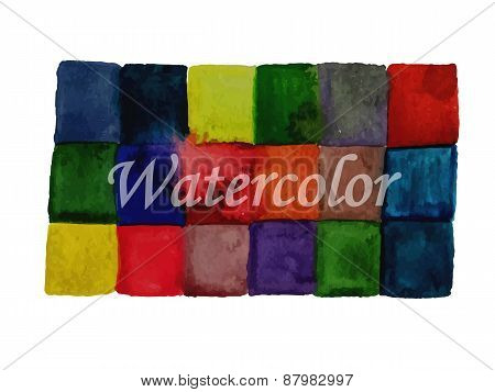 Vector Watercolor Checked Background For Your Message