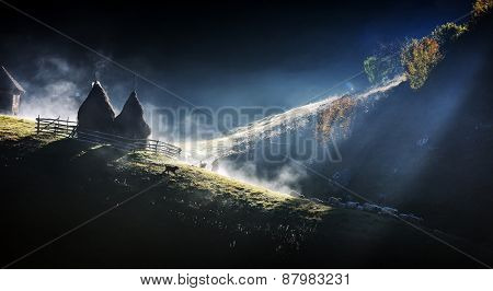 mountain landscape with autumn morning fog at sunrise - Fundatura Ponorului, Romania