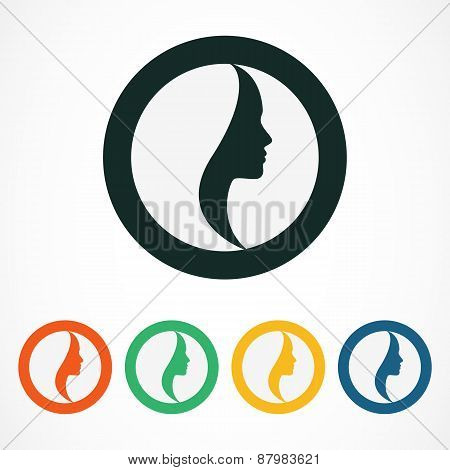 Woman's Face In Circle Shape. Profile Of The Beautiful Girl, Set Of Vector Logo Design Template. Abs