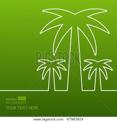Palm Tree Line Silhouette. Vector Green Abstract Background With Place For Text