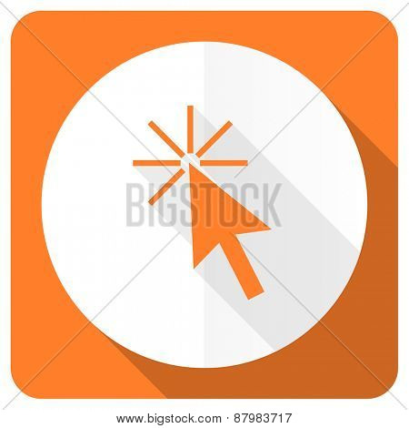click here orange flat icon