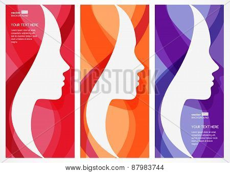 Set Of Vector Abstract Background With Woman's Face Silhouette. Profile Of The Beautiful Girl. Abstr