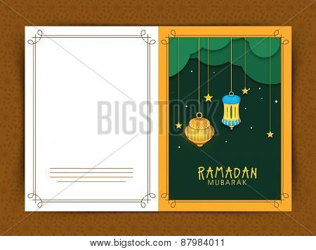 Beautiful greeting card design for Islamic holy month of prayers, Ramadan Kareem celebrations with hanging golden lanterns.