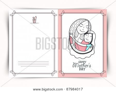Happy Mother's Day celebration greeting card design decorated with loving mom and his daughter.