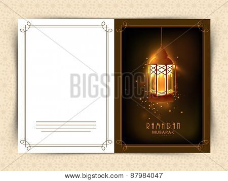 Beautiful greeting card design for Islamic holy month of prayers, Ramadan Kareem celebrations with hanging golden lantern on shiny brown background.